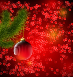 Christmas background with red ball and Christmas vector image vector image