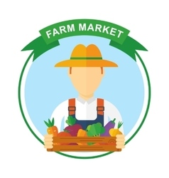 Farm market color logo vector