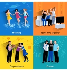 Friends buddies 4 flat icons square vector