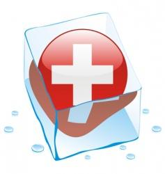 frozen button flag of switzerland vector image vector image