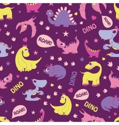 Girly dinosaurs roaring seamless pattern vector