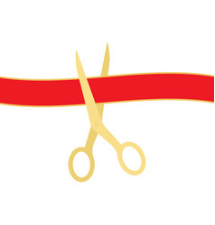 golden scissors cutting red ribbon isolated on vector image