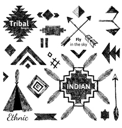 Hand drawn tribal elements set vector image vector image