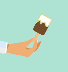 Hand holding ice cream stick vector