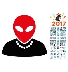 Humanoid icon with 2017 year bonus symbols vector