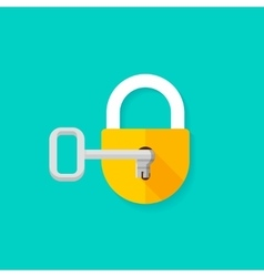 Key in keyhole opening closed padlock vector image vector image