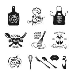 Kitchen related typography set quotes about vector