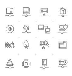 line network server and hosting icons vector image vector image