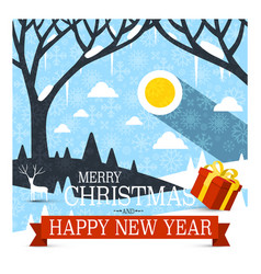 merry christmas and happy new year card with red vector image vector image