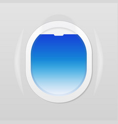 open airplane window where one can see the blue vector image