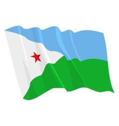 Political waving flag of djibouti vector