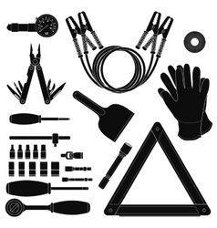 Road kit silhouettes set vector image vector image