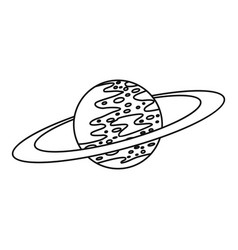 Saturn icon outline style vector