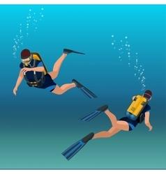 Scuba diverflat isometric Underwater vector image vector image