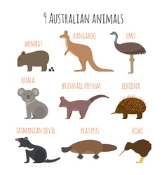Set of australian animals icons vector