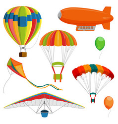 Set of blimp paraglider and kite air balloon and vector
