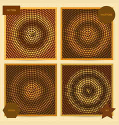 Set of square cards with halftone mosaic patterns vector
