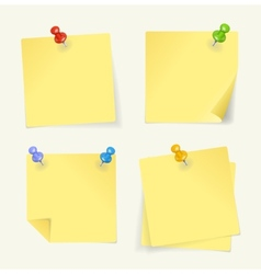 set of yellow sticky Notes with pin vector image