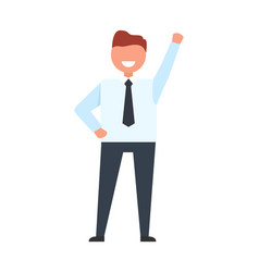 smiling businessman raise his hand up worker ready vector image