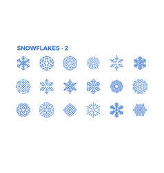 Snowflake icons decorative elements of winter vector