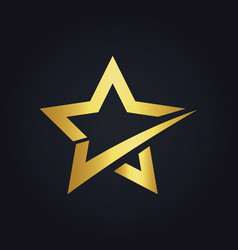 star check shape gold logo vector image vector image