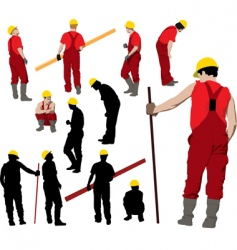 team of construction workers vector image vector image