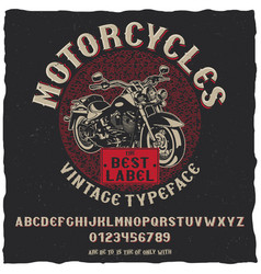 vintage label typeface motorcycles poster vector image vector image