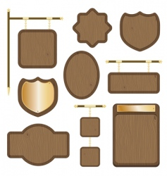 Wooden plaques vector