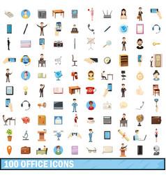 100 office icons set cartoon style vector