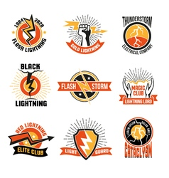 Lightning logo emblem set vector