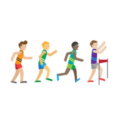 running competition runners near the finish vector image
