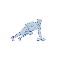 Fitness athlete push up one hand dumbbell drawing vector