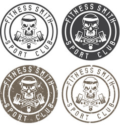Fitness skull with hammers vintage labels set vector