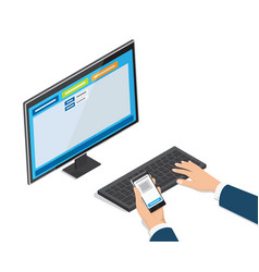 Payment through online banking website on monitor vector