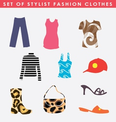 Set of stylist fashion clothes vector