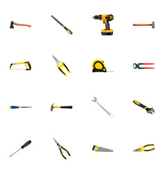 Realistic spanner claw hacksaw and other vector