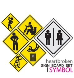 Sign board-heartbroken sig board concept icon set vector