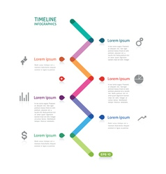 Timeline infographics colorful broken line vector