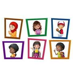 Children in frames vector