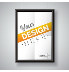 Poster frame template of a folded paper sheet vector