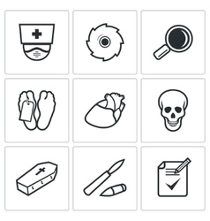 Pathologist and morgue icons set vector