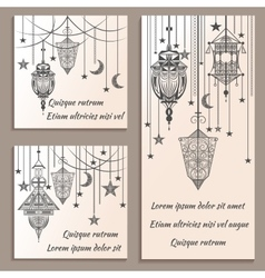 Set of greeting cards ethnic ornament in vintage vector