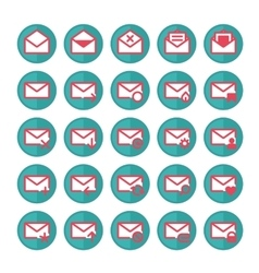 Green mail icons vector