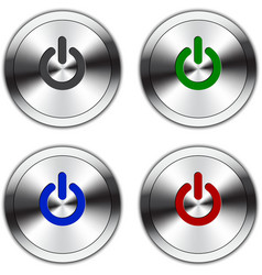 Metallic power button vector