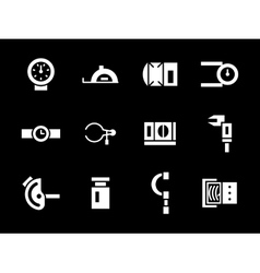 Simple white glyph calibration tools icons vector