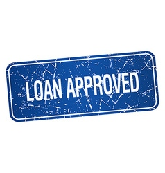 Loan approved blue square grunge textured isolated vector