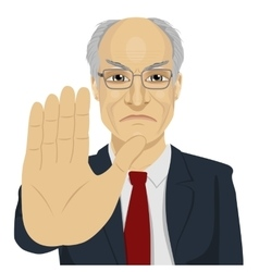 Angry senior businessman howing stop gesture vector