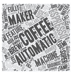 Automatic espresso coffee makers text background vector