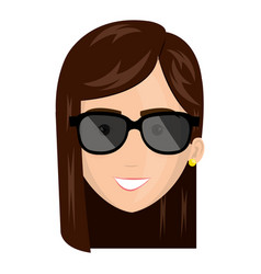 Beautiful and young woman head with sunglasses vector