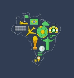 Brazil worldcup event flat design vector image vector image